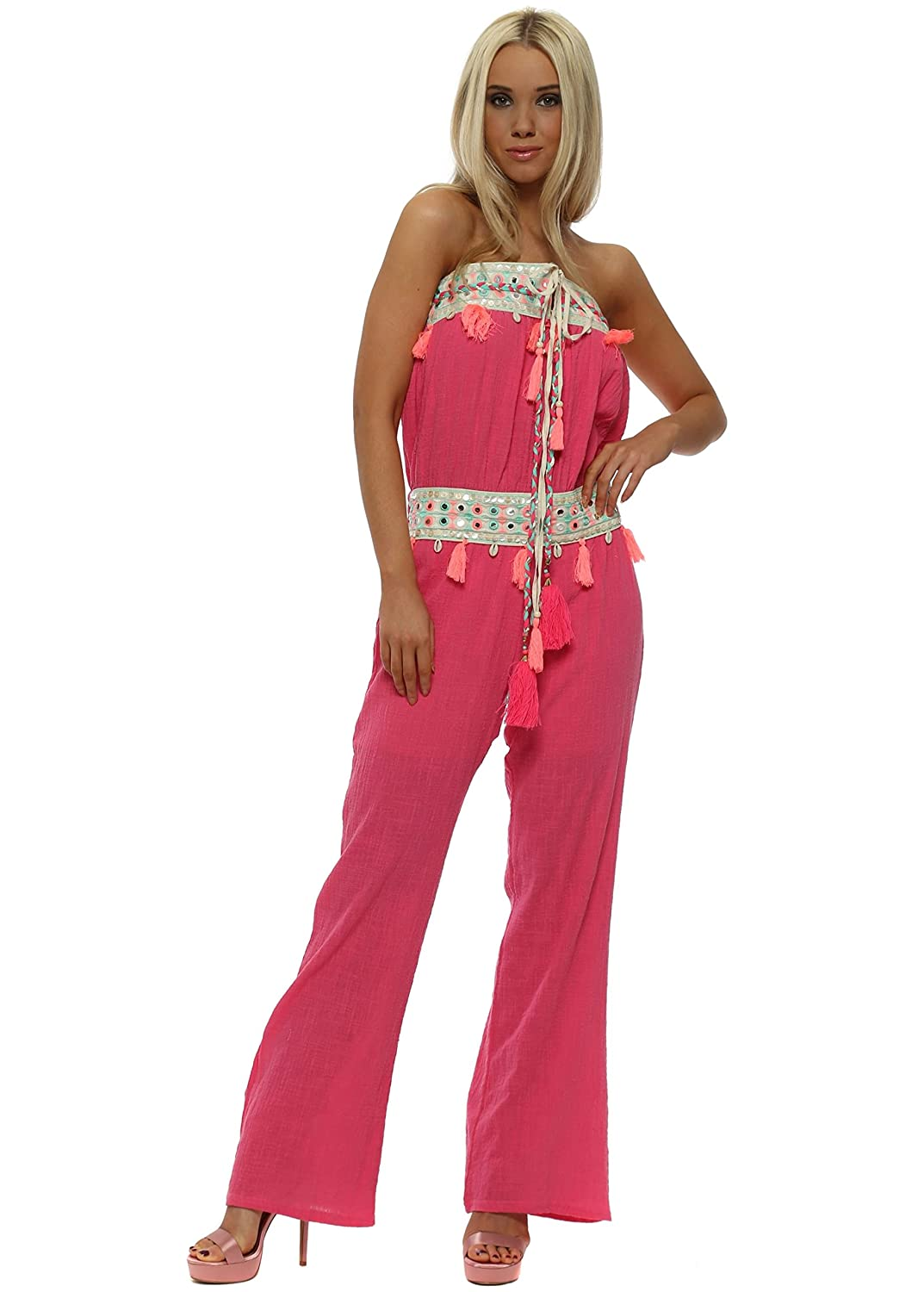 58d0df85a82 Laurie   Joe Hot Pink Boho Tassle Bandeau Jumpsuit  Amazon.co.uk  Clothing