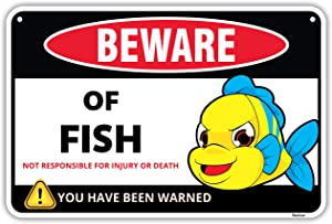 Venicor Beware of Fish Warning Aluminum Sign - 8 x 12 Inches - Great Gag Gift for Fish Fan Lovers - Detailed Cartoon Art Decor - Funny Cute Danger Metal Wall Decoration