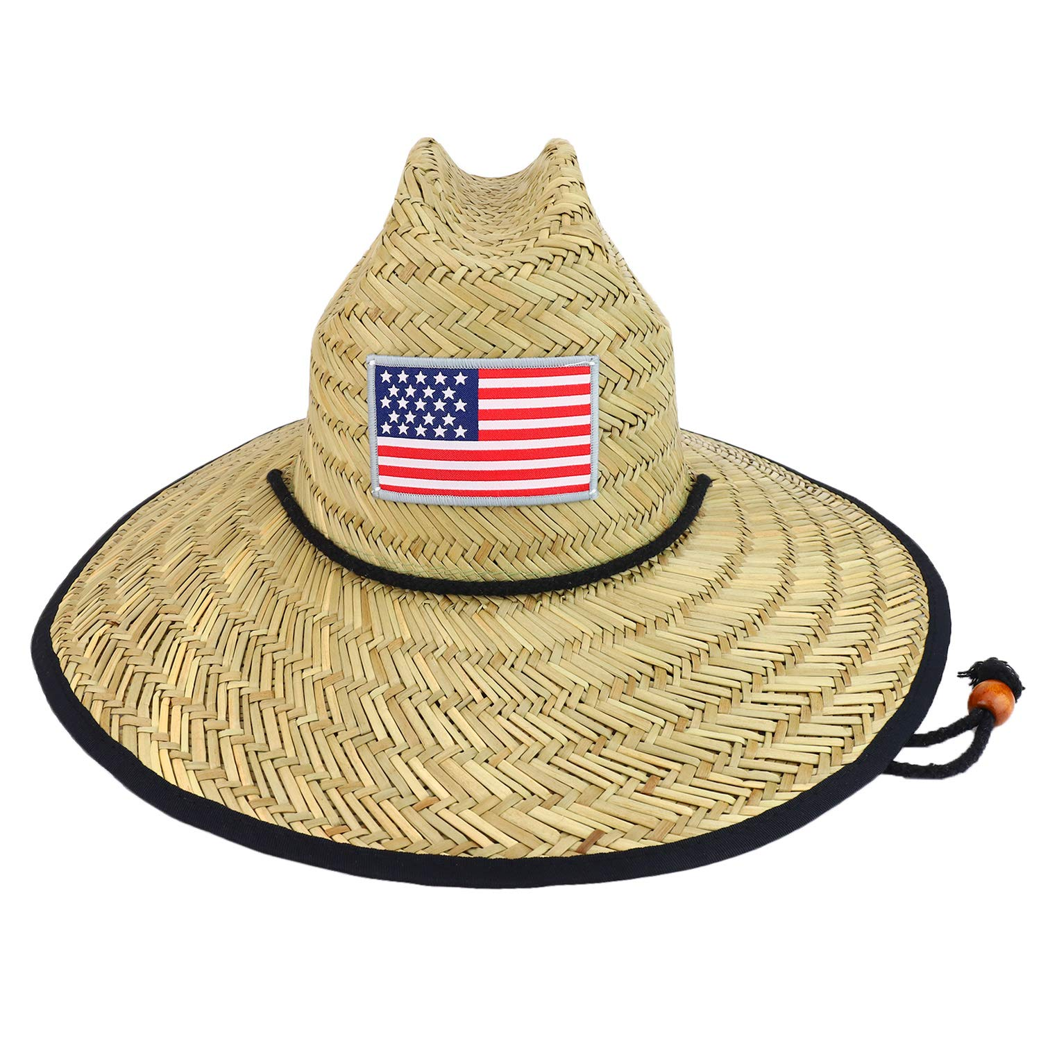 Trendy Apparel Shop US Flag Patch Wide Brim Lifeguard Summer Straw Hat