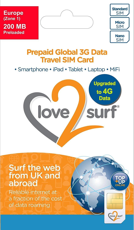 Love2surf Tarjeta Triple SIM Internacional de Datos 3G SIM para Viajes • 114 países (100 MB EUROPA)