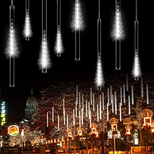 OMGAI 30cm 8 Tubes Meteor Shower Rain Lights – 144 LED Drop Icicle Snow Falling Raindrop Cascading Lights for Wedding Party Christmas – White