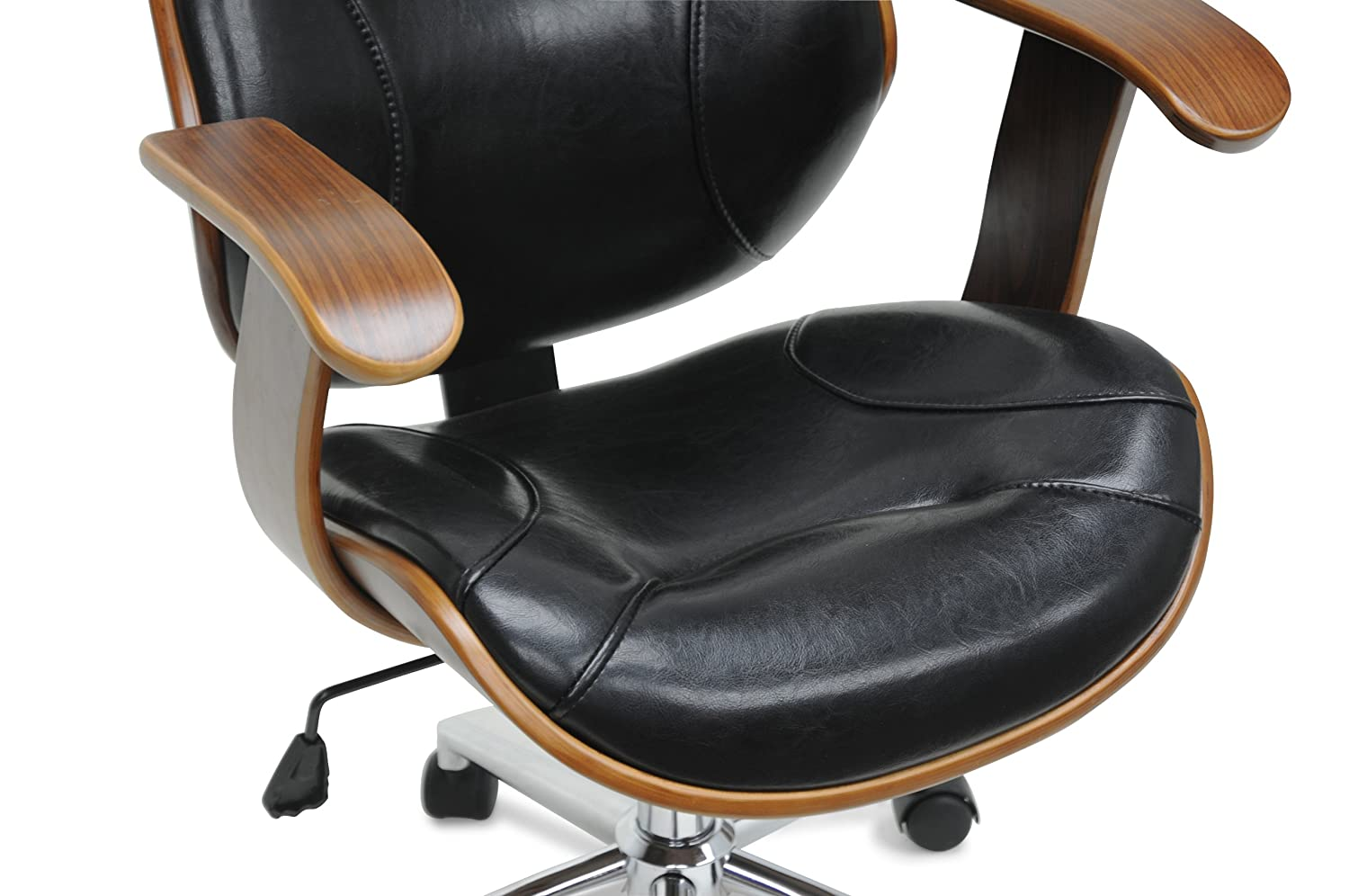 amazoncom baxton studio rathburn modern office chair walnutblack kitchen u0026 dining
