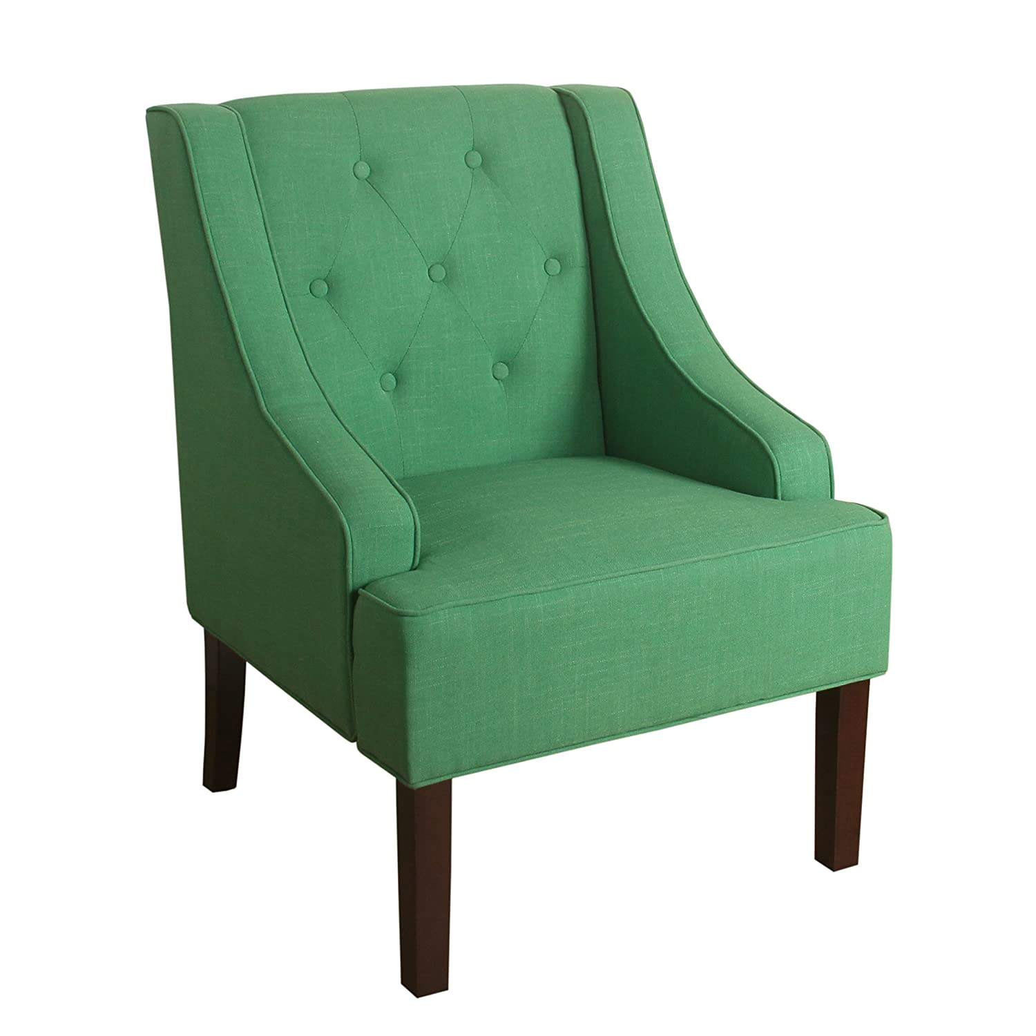 Amazon HomePop Kate Tufted Swoop Arm Accent Chair Kelly Green