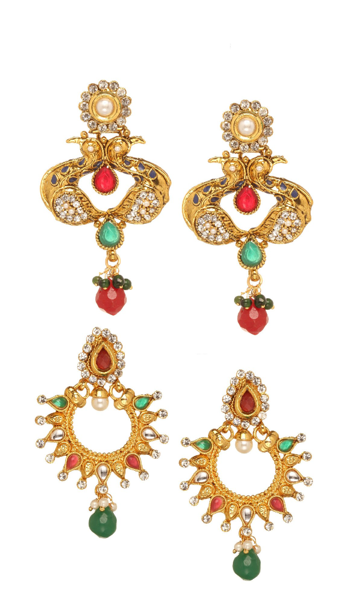Bindhani Indian Bollywood Jewellery Wedding Bridal Red Green Earrings For Women (Pack of 2)