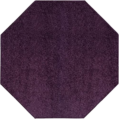 Cool Home Our Space Collection Solid Color Area Rugs Purple, 10 Octagon