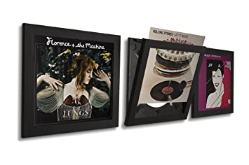 art vinyl play and display record frame 3 pack black