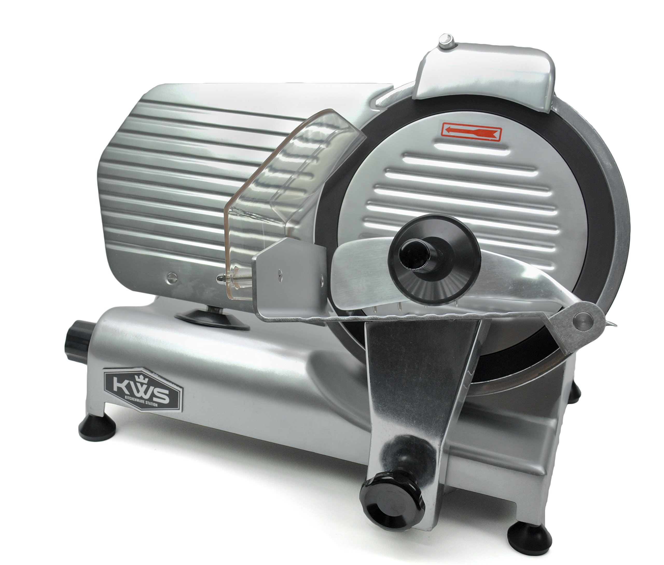 KWS Commercial 320w Electric Meat Slicer 10'' Frozen Meat Deli Slicer Coffee Shop/restaurant and Home Use Low Noises (Teflon Blade--Back)