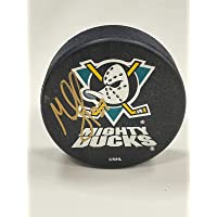 $37 » MIKE LECLERC Signed Anaheim Mighty Ducks Vintage Puck - w/COA - Autographed NHL Pucks