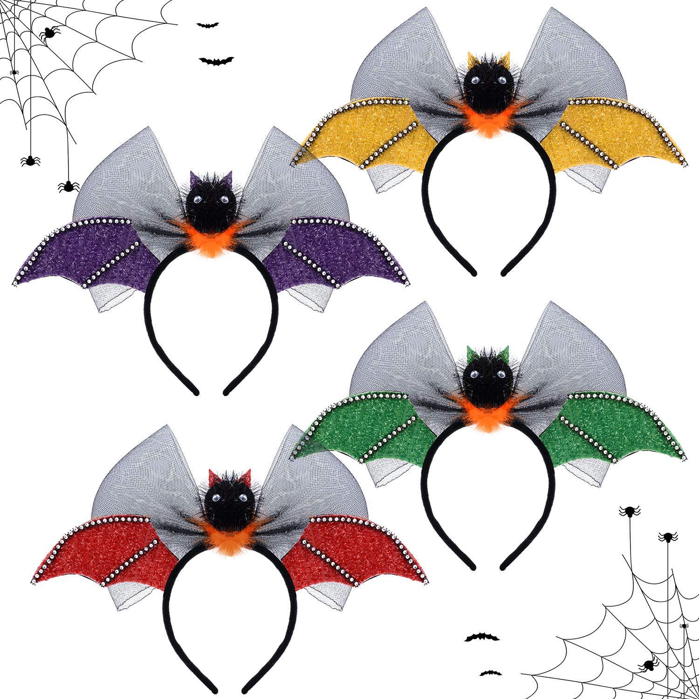 Bat Halloween Headband, Aniwon 4Pcs Glitter Wings Headwear Bow Cute Cartoon Hair Hoop Headress Party Cosplay Costume Accessory for Kids Women Girl