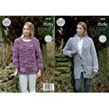 "King Cole Knitting Pattern: Ladies Sweater /& Jacket 4878 32-46/"" Chunky"