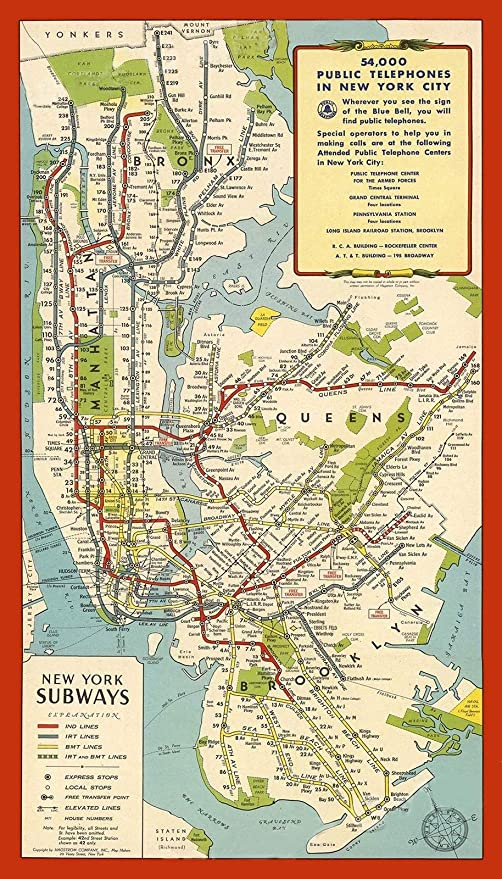 Amazon Com Magnet New York City 1951 Subway Map Mta Magnet Vinyl