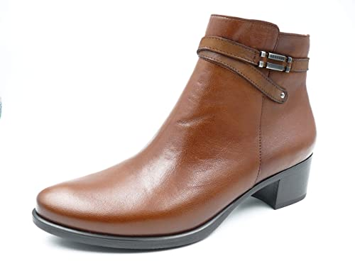zapatillas de deporte para baratas d0f6b df65d Botin Mujer en Piel Color Cuero de la Marca FLUCHOS, tacón Grueso de 4cm de  Altura - D7637-84