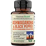 Ashwagandha with Black Pepper 1300 milligrams Supplement Made with Organic Root Powder Extract. Relief from Occasional Stress
