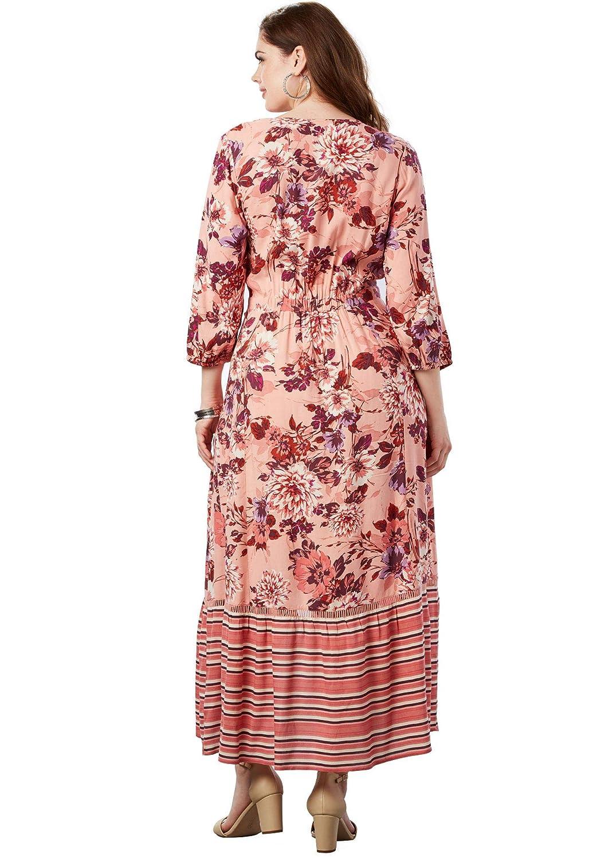 187d6decbbf Roamans Women s Plus Size High-Low Wrap Dress at Amazon Women s Clothing  store