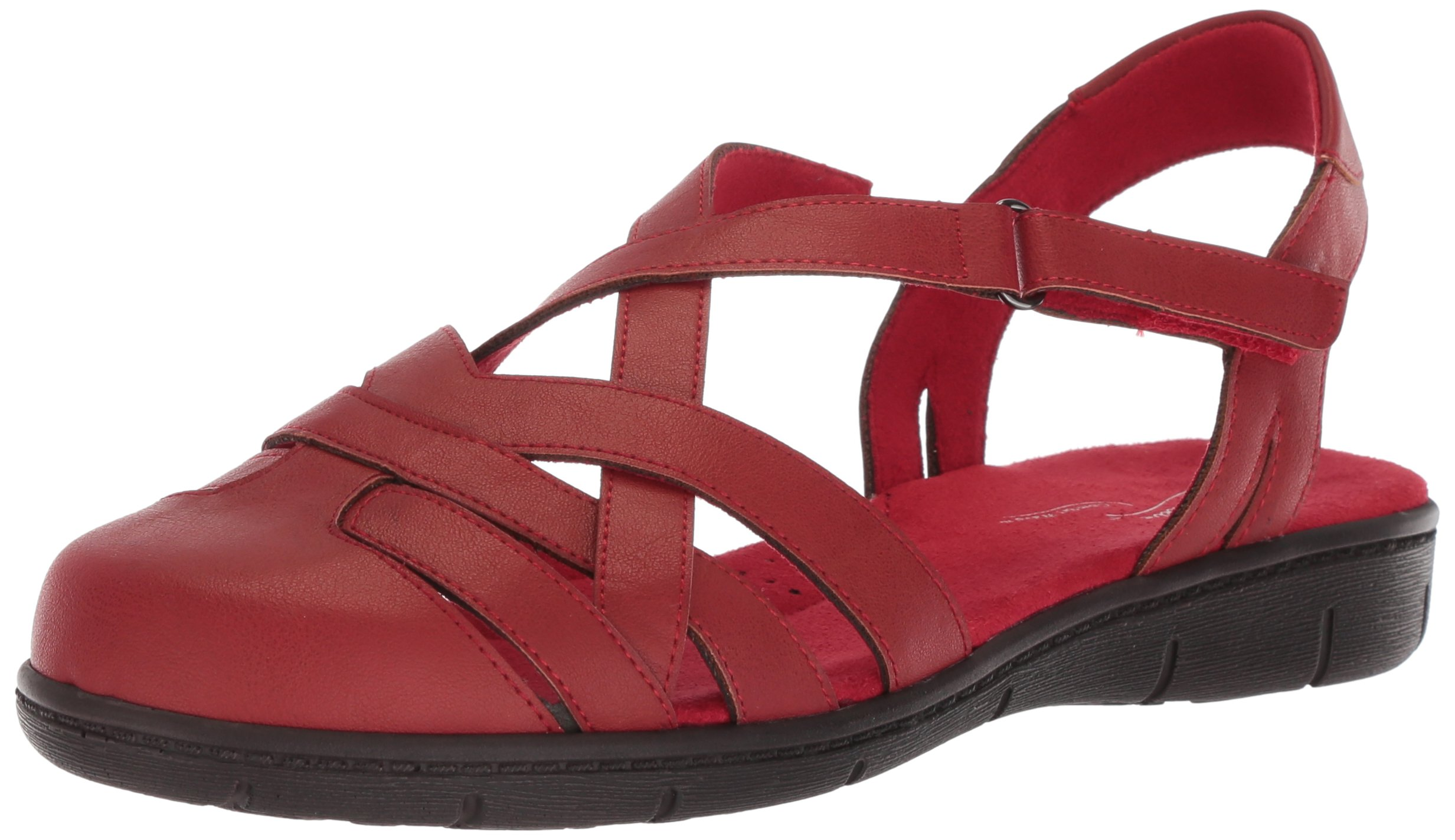 Easy Street Women's Garrett Flat Sandal, Red, 7.5 M US