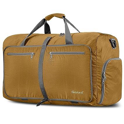 Gonex - Bolsa de equipaje plegable para deporte o viaje (multiusos, impermeable, 80 L), Dorado, L