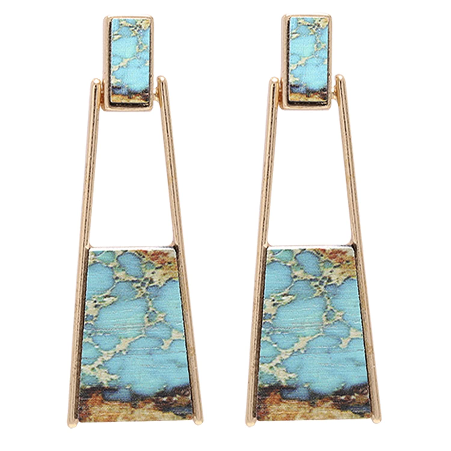 BONALUNA Bohemian Wood And Marble Effect Oblong Shaped Drop Statement Earrings BOJE-0025