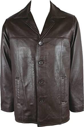 Real Leather Jacket Brown #N7 Unicorn Mens Classic Smart Jacket