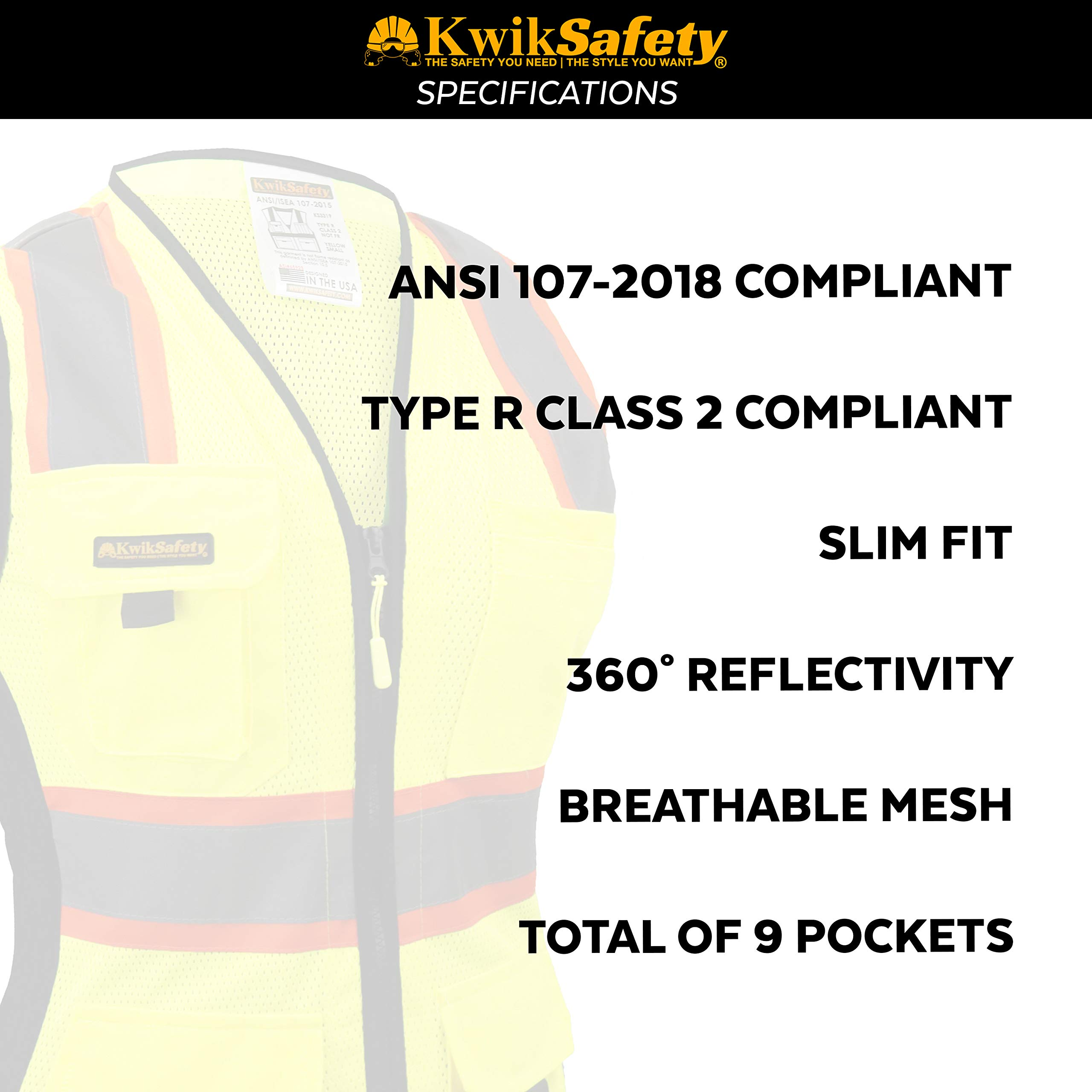 KwikSafety (Charlotte, NC) FIRST LADY Safety Vest for Women | Class 2 ANSI OSHA PPE | High Visibility Heavy Duty Mesh Pockets Zipper | Hi-Vis Construction Work Hi-Vis Surveyor Female | Yellow Large by KwikSafety (Image #4)