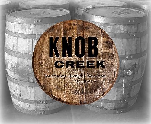 Home Bar Decor Knob Creek Kentucky Bourbon Whiskey Barrel Lid Wood Wall Art