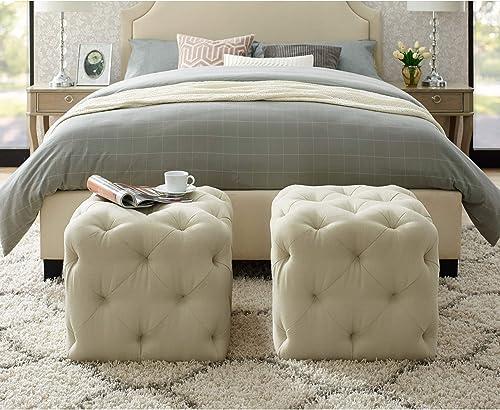 Angel Cream White Linen Ottoman