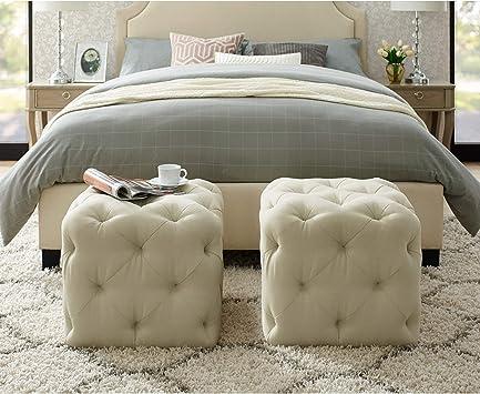 Amazon Com Angel Cream White Linen Ottoman Furniture Decor