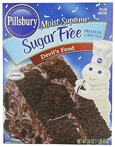 Pillsbury Moist Supreme Sugar Free Devil's Food Cake Mix, 16 Ounces (Pack of 6)