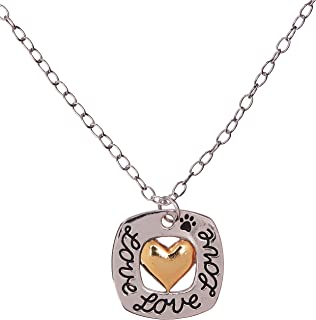 product image for Rockin Doggie Necklace, Love Square with Gold Plated Heart