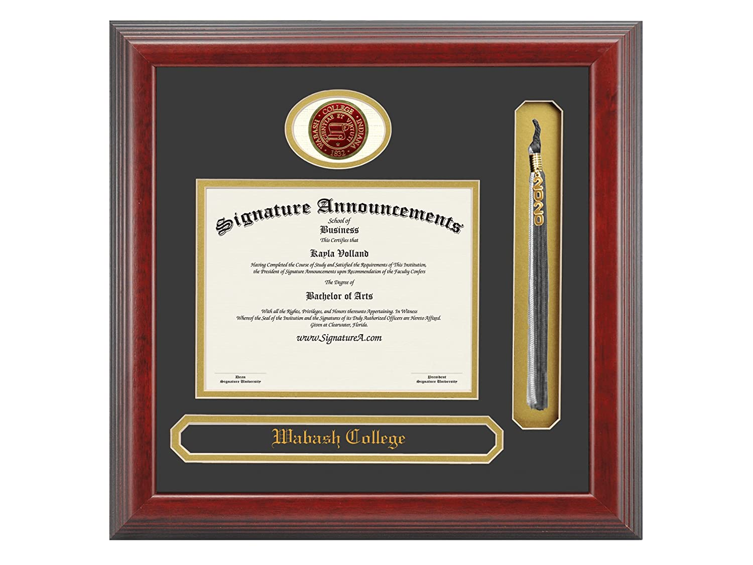 23 x 24 Name /& Tassel Graduation Diploma Frame Cherry Signature Announcements Wabash College Undergraduate Sculpted Foil Seal