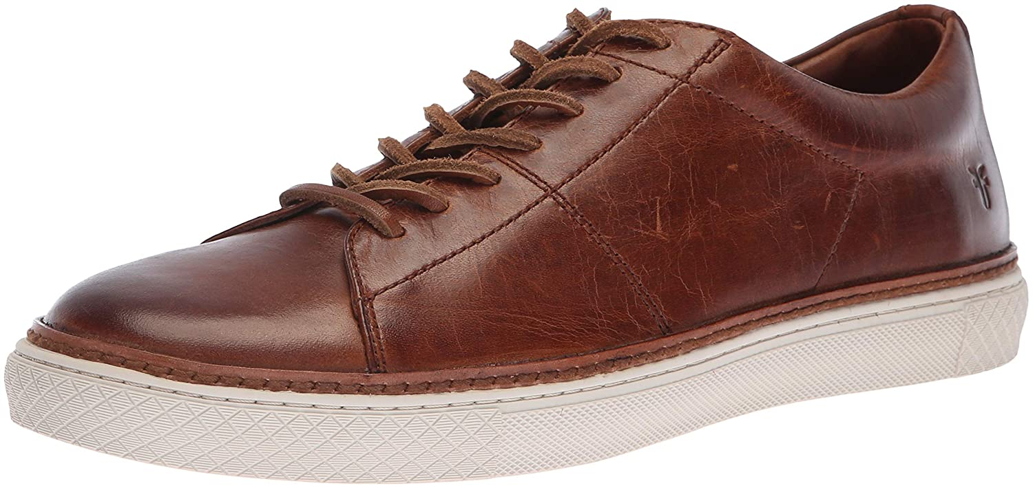 Cognac Frye Mens Essex Low Folded Edge Sneaker