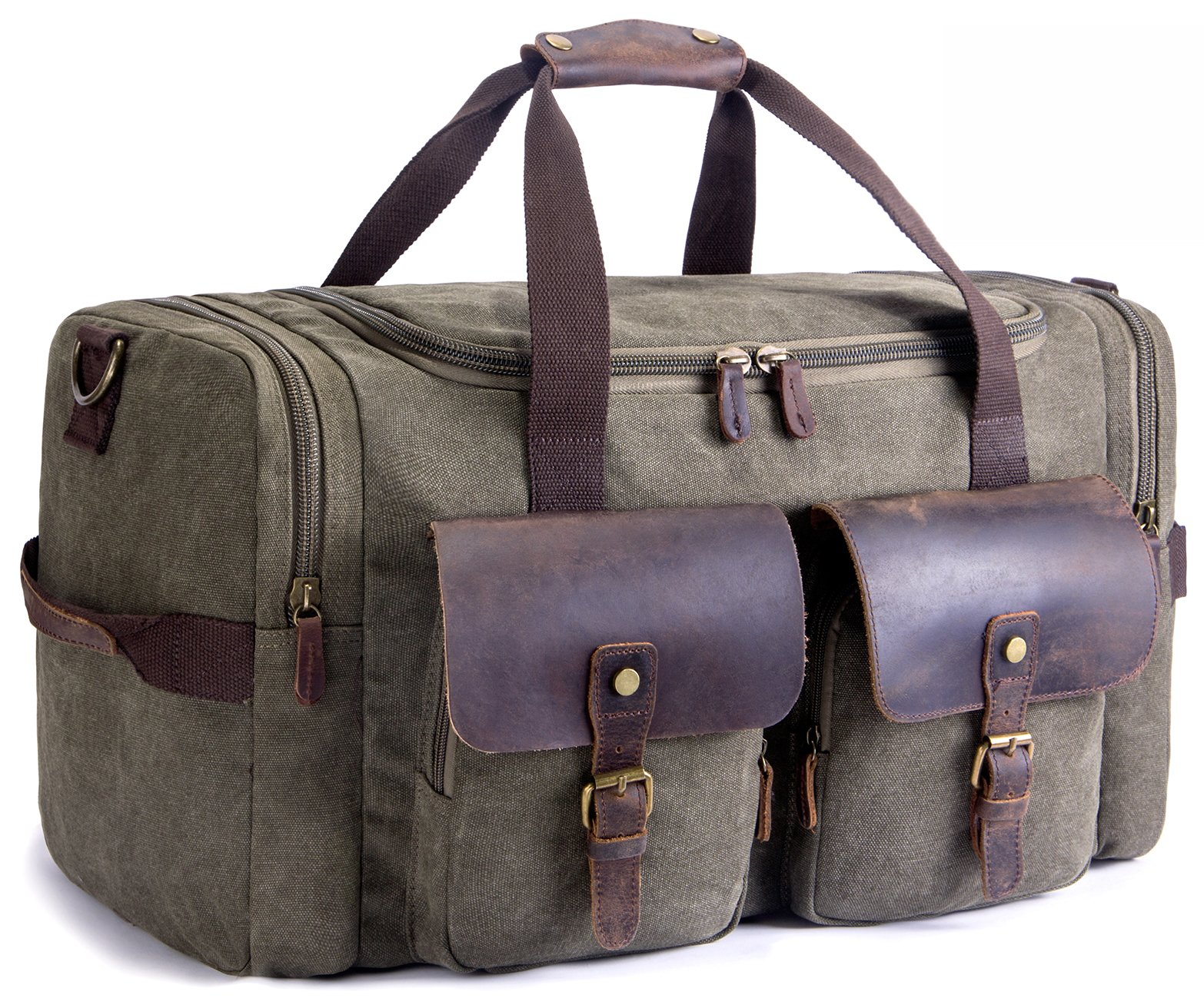 SUVOM Canvas Duffle Bag Leather Weekend Bag Carry On Travel Bag Luggage Oversized Holdalls for Men and Women(Army Green) by SUVOM (Image #1)