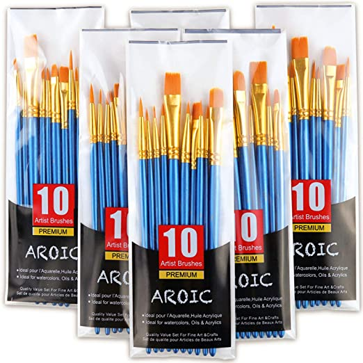 60 Pcs Flat Paint Pallet Brush with 5 PCS Round Paint Palettes for Kids,Nylon Hair Small Brush Acrylic Oil Watercolor Artist Painting for Children Paint Party Classroom Starter