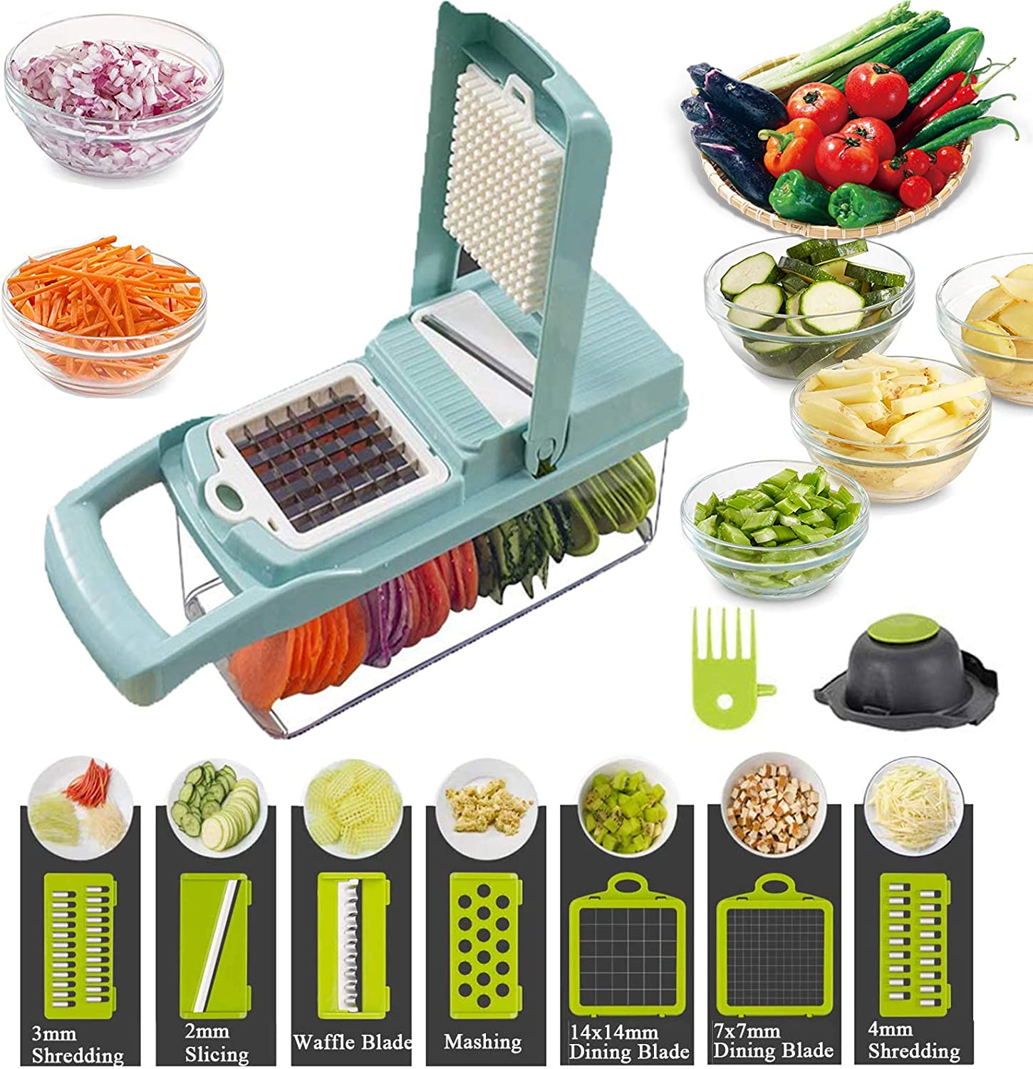 Vegetable Shredder, 12-In-1, The Third Generation Food Shredding (Slicing) Machine for Cutting Vegetables, Cheese, Fruits, Celery, Potatoes, Carrots, Fruit Salads (Blue)