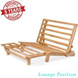 Queen Size Tri-Fold Wood Futon Sofa Bed Lounger Frame - (Space Saver, Natural Finish) Ideal for Small Spaces, RVs, and Dorm Furniture