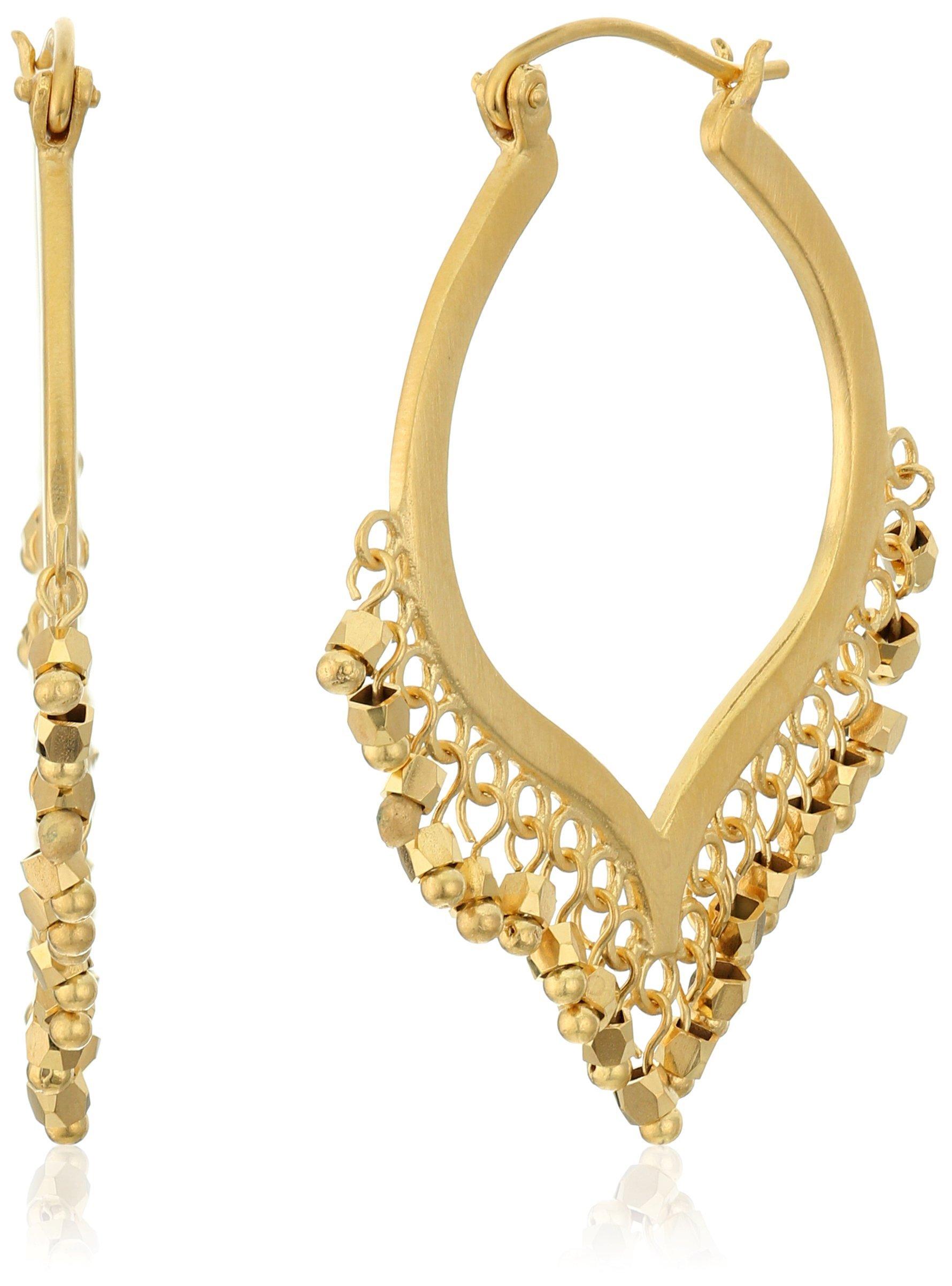 Satya Jewelry Gold Chandelier Lotus Hoop Earrings
