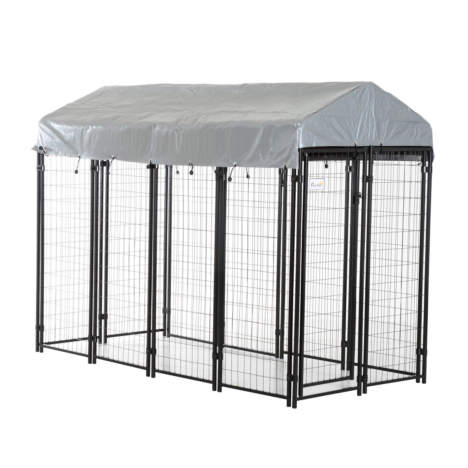 PawHut 97'' x 46'' Outdoor Galvanized Metal Dog Kennel Playpen with UV and Water Resistant Tarp Cover by PawHut