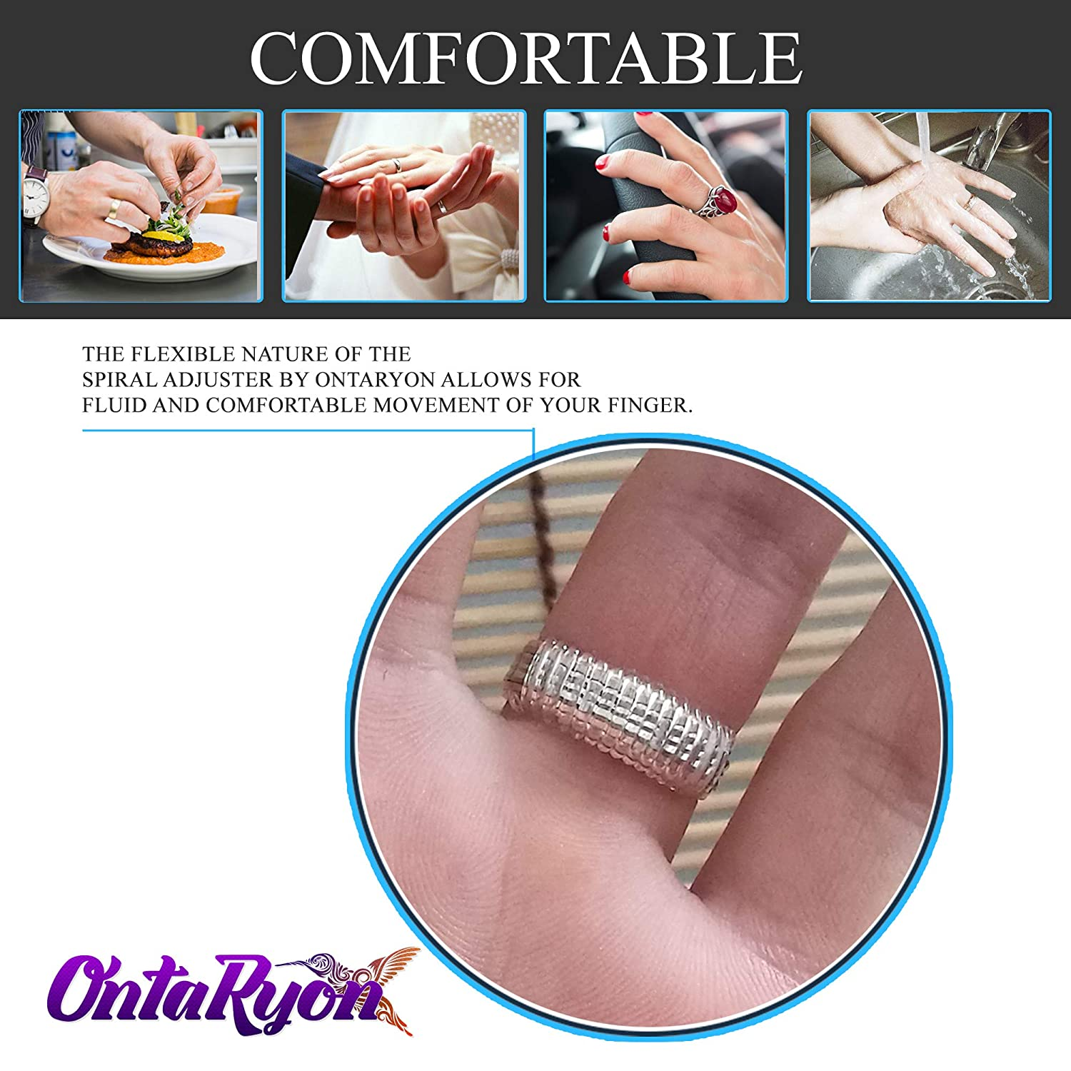 Comfortable Wear Rubber Tightener for Gold Rings 4 Sizes Jewellery Spacers Silicone Guards for Loose Rings OntaRyon Ring Size Adjuster Gold Resizer for Men and Women 8 Spirals