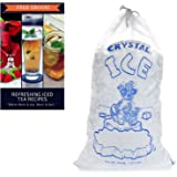 Plastic ice bags 10 lb with COTTON DRAWSTRING closure - Pack of 100 - from FreezyBags - REUSABLE plastic bags - HEAVY DUTY and GREAT FOR FREEZING TEMPERATURES - EBOOK INCLUDED!