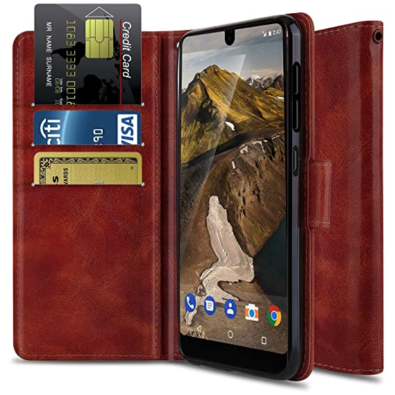 big sale d0f98 c1b57 Essential Phone PH-1 Case, OTOONE Premium PU Leather [Wrist Strap] Flip  Card Holder Stand Wallet Phone Cover for Essential Phone 2017 (Burgundy)
