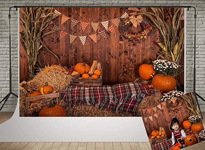 Kate 20x10ft Halloween Pumpkin Photography Backdrops Thanksgiving Autumn Gifts Backgrounds Haystack Decoration Backdrop Rustic Wood Wall Photo Studio Props Background