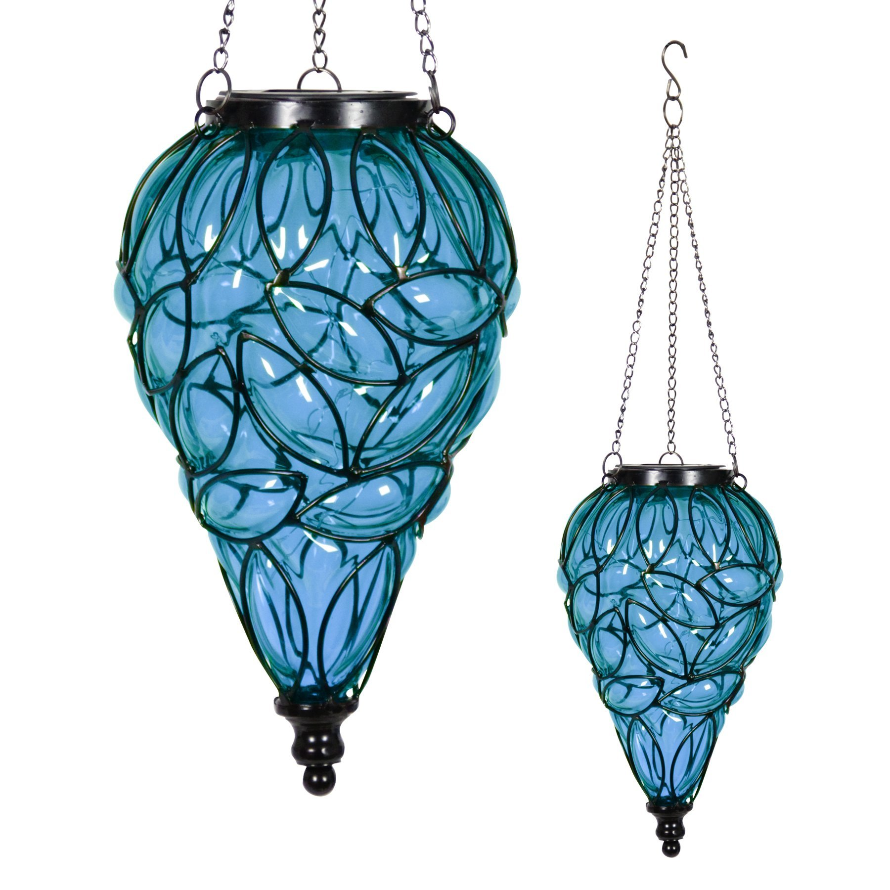 Exhart Blue Solar Lantern - Glass Tear-Shaped Hanging Lantern - Teardrop Glass Ceiling Lantern Hangs in a Metal Cage w/ 12 Blue LED Firefly Solar Lights 7'' L x 7'' W x 24'' H