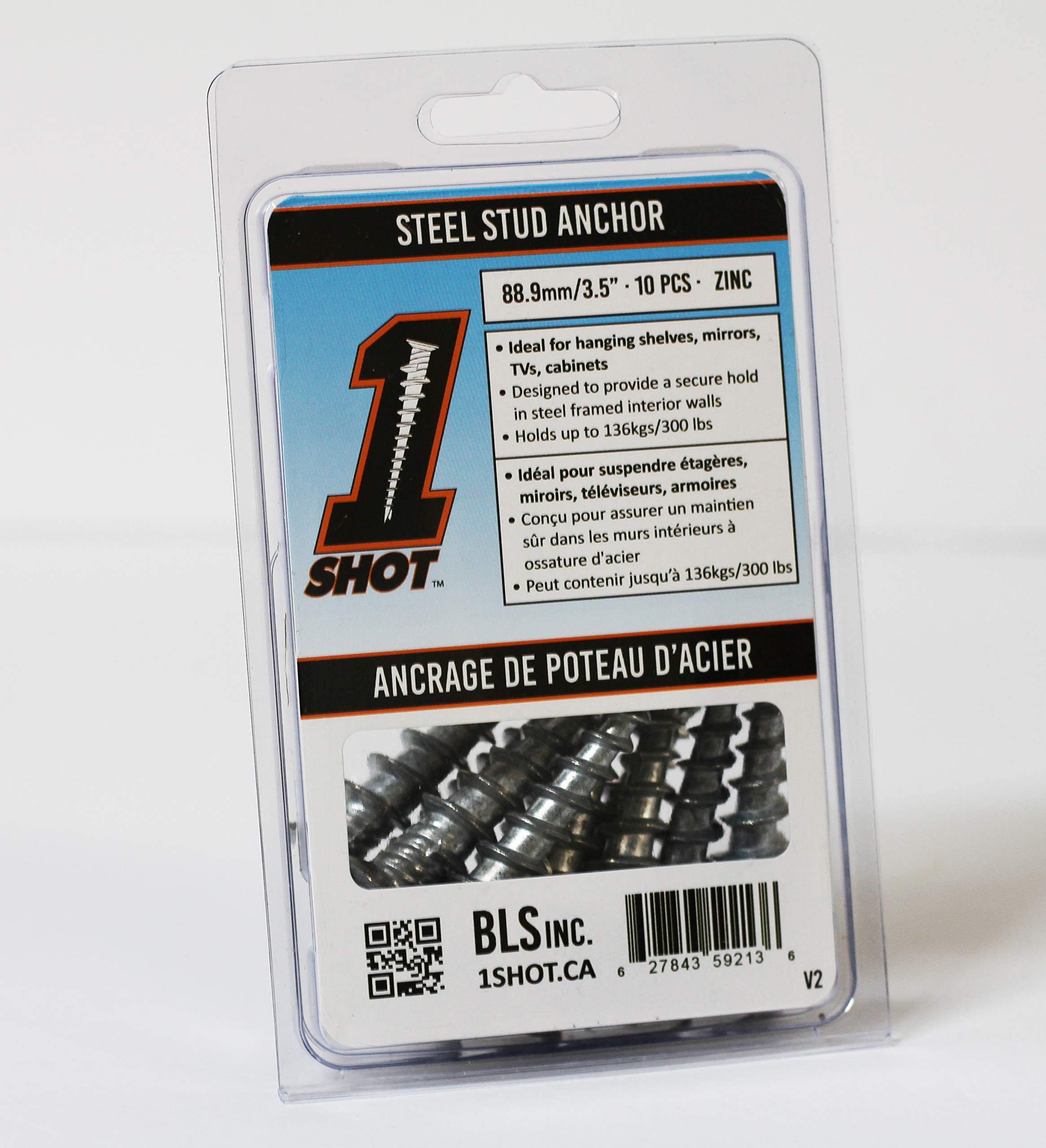 1 Shot Steel Stud Anchor 10 Pack by B.L.S. INC
