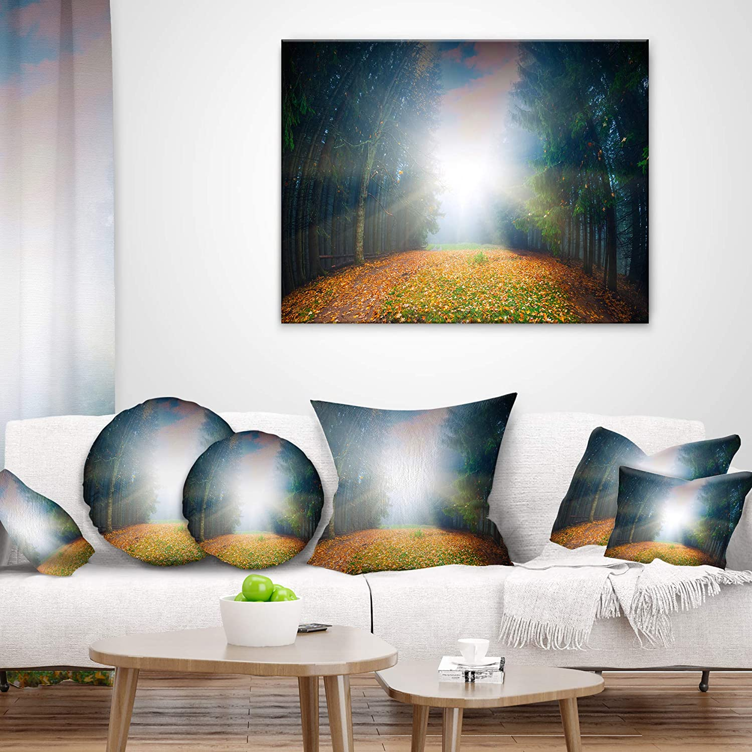 Sofa Throw Pillow 26 x 26 Designart CU9717-26-26 Rising Sun Over Colorful Forest Landscape Photo Cushion Cover for Living Room