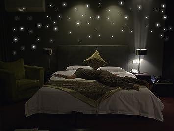 Sternenhimmel Bett amazon de 265 wandsticker leuchtpunkte fluoreszierend und im