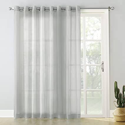 No. 918 Emily Extra-Wide Sheer Voile Sliding Patio Door Curtain Panel, 100 x 84, Silver Gray