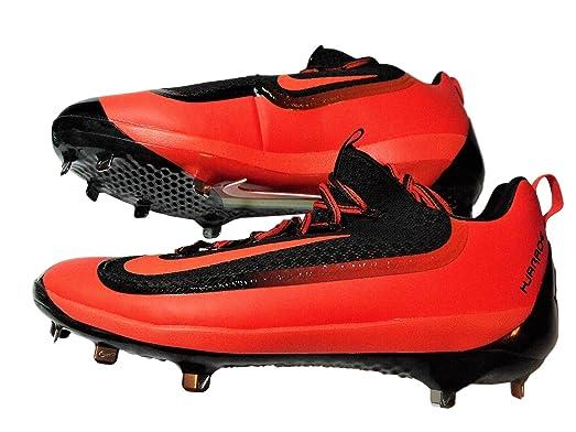 Nike Air Huarache Pro Low Metal Mens 807129 080 Black Orange Baseball Cleats  Size: 13