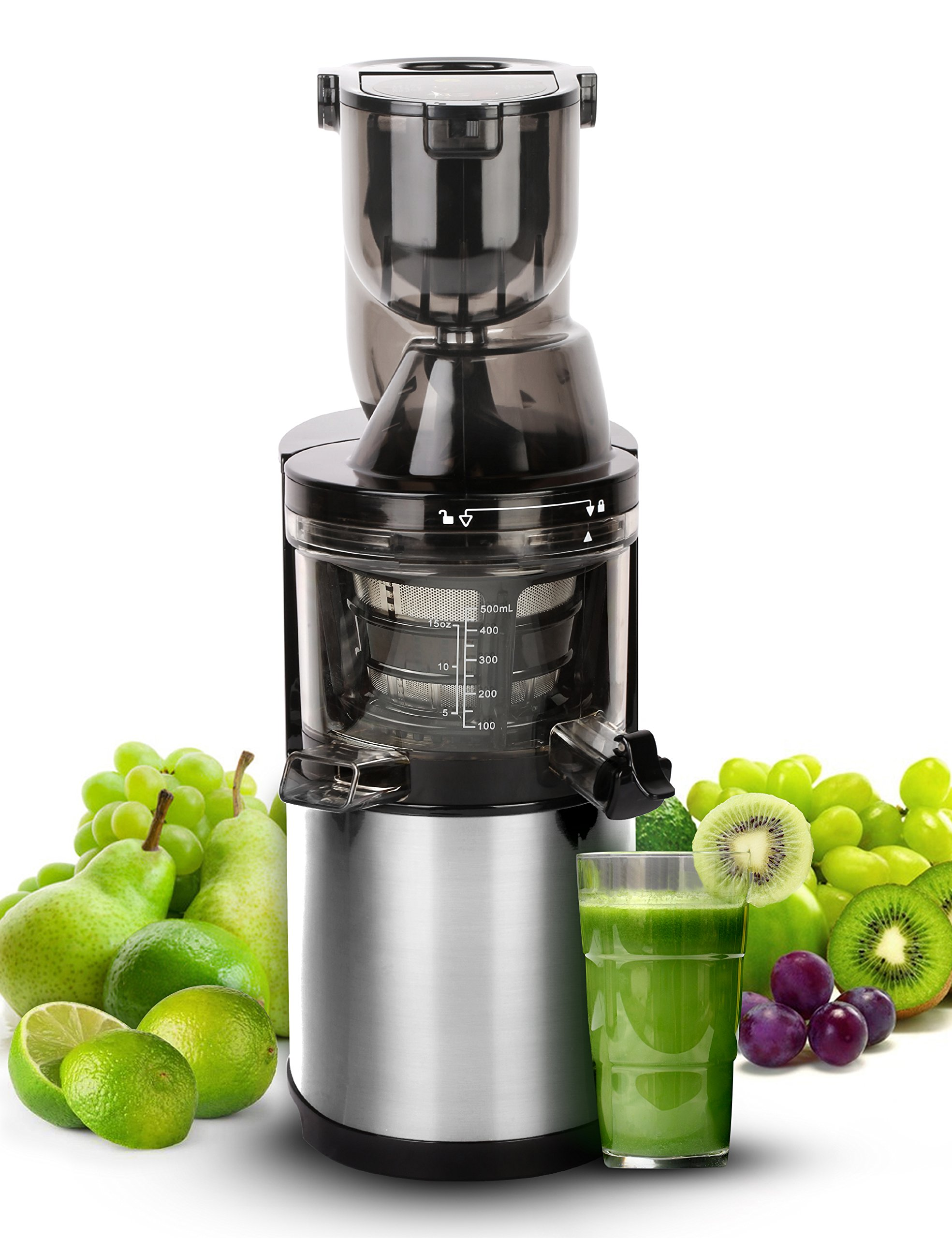Slow Masticating Juicer Extractor, Cold Press Juicer Machine with 250W Quiet Efficient Motor/Reverse Function/BPA-Free,Easy to Clean with Brush,Juice Recipes for Vegetables and Fruits by Wonlink
