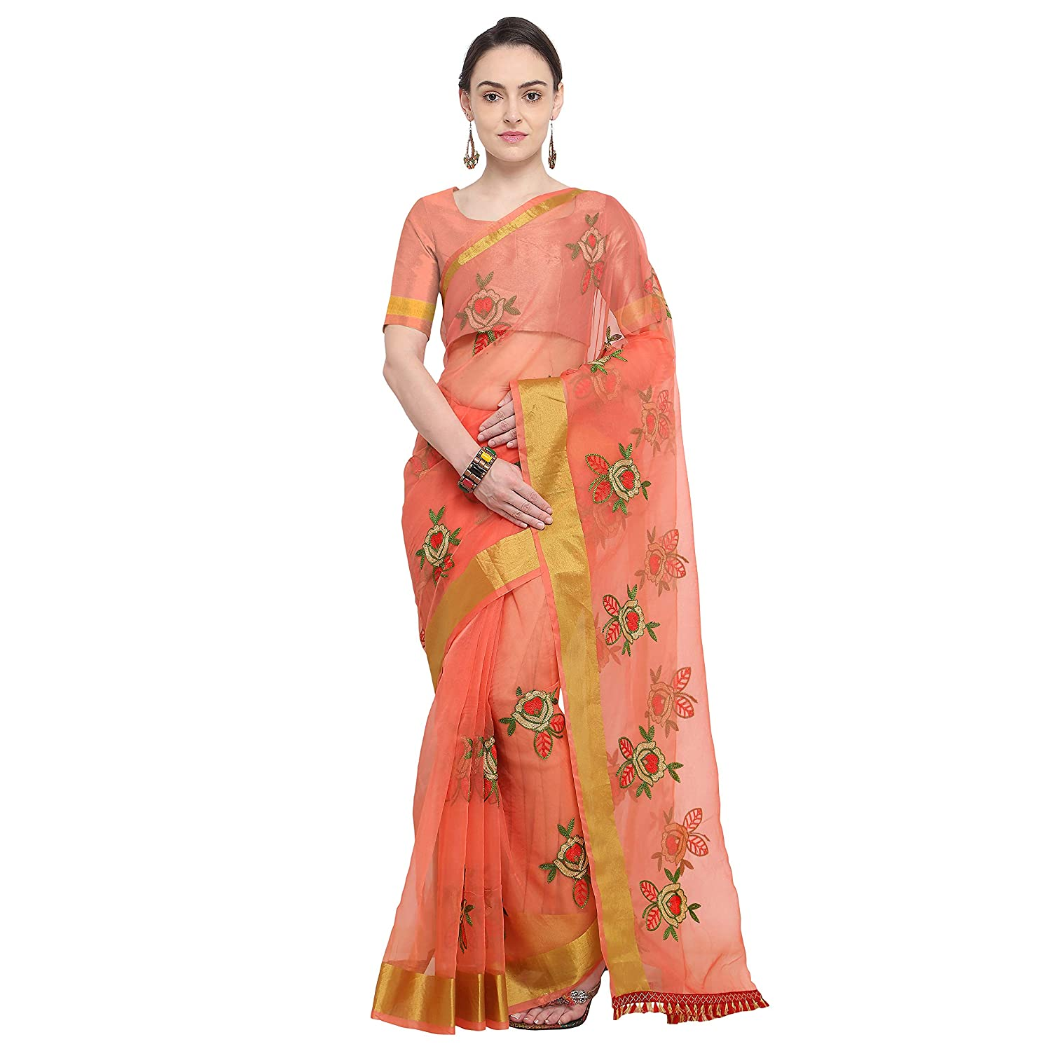 Sidhidata Textile Women's Organza Flower Embroidery saree With Unstitched Blouse Piece(organza flower peach_Peach_Free Size)