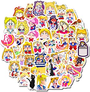 Sailor Moon Anime Sticker Pack of 50 Stickers - Waterproof Durable Stickers Classic Japanese Anime Stickers for Water Bottles Computers Laptops