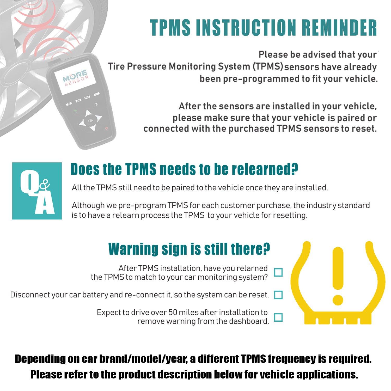 New Set (4pcs) Mobiletron TPMS TX-S073 For Chrysler/Dodge/Hyundai/Jeep/Kia 52933-2M000, 52933-A5000, 56029456AB, 56053030AB, 68001696AB, 68078861AA 315MHz Tire Pressure Monitor System Sensor